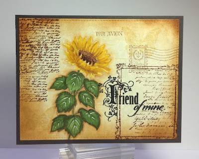 I Started With A Piece Of Parchment Cardstock And Stamped Bacgkround From Heidi Swapp In Antique Linen Distress Ink Added Some Script Background