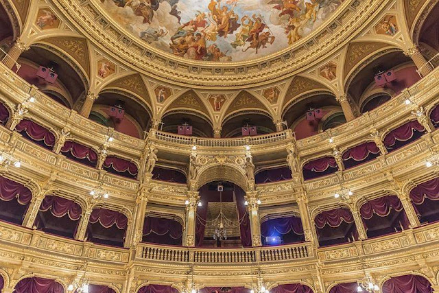 Hungarian National Opera House, Budpest, Hungary is one of Europe's most ornate and beautiful theaters.
