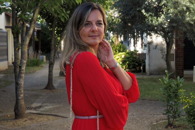 robe rouge maje, sac lancaster, look du jour, automne, les petites bulles de ma vie