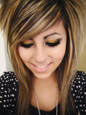 Emo Hairstyle with Golden Highlights
