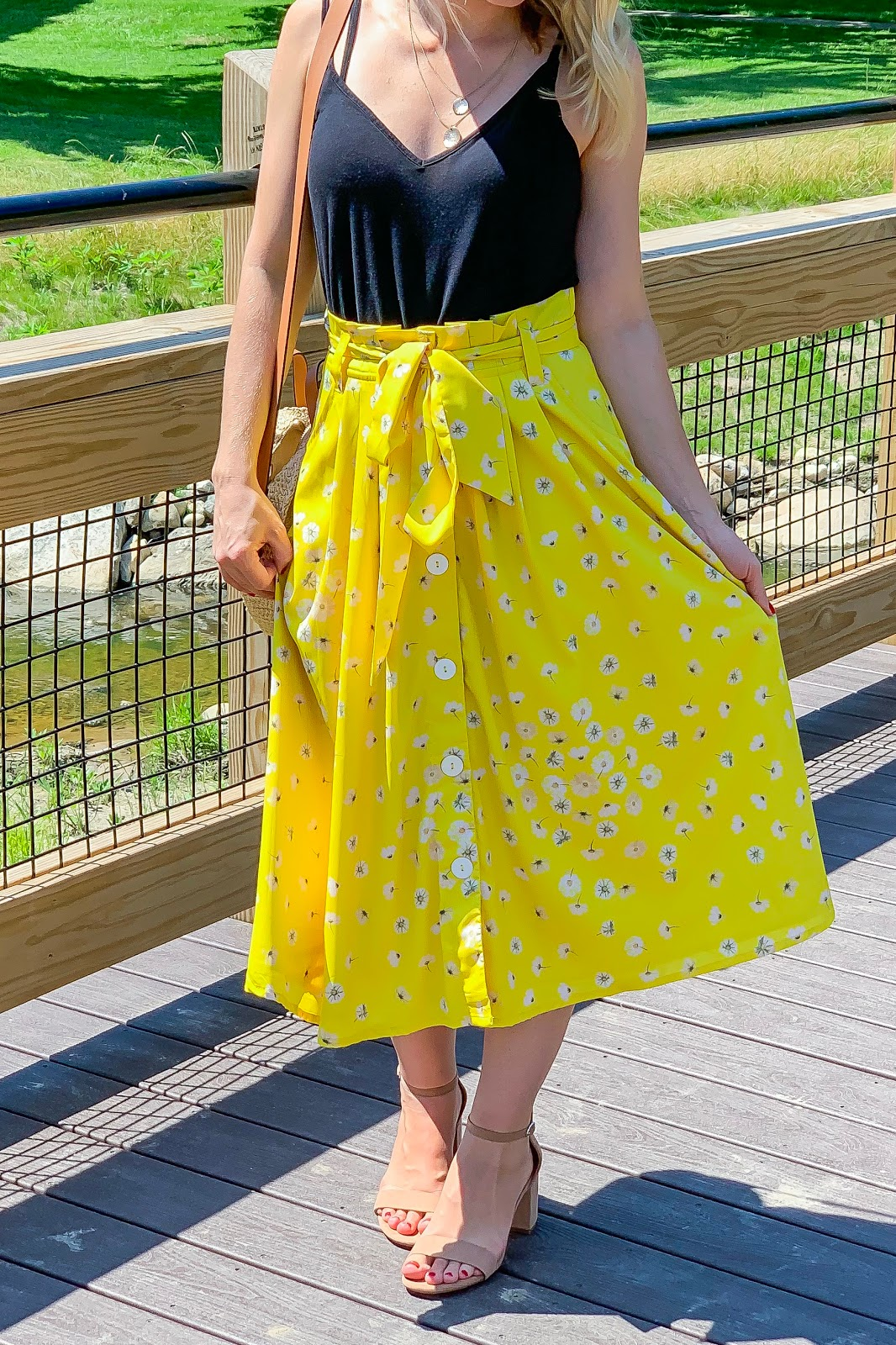 Yellow floral mid length skirt
