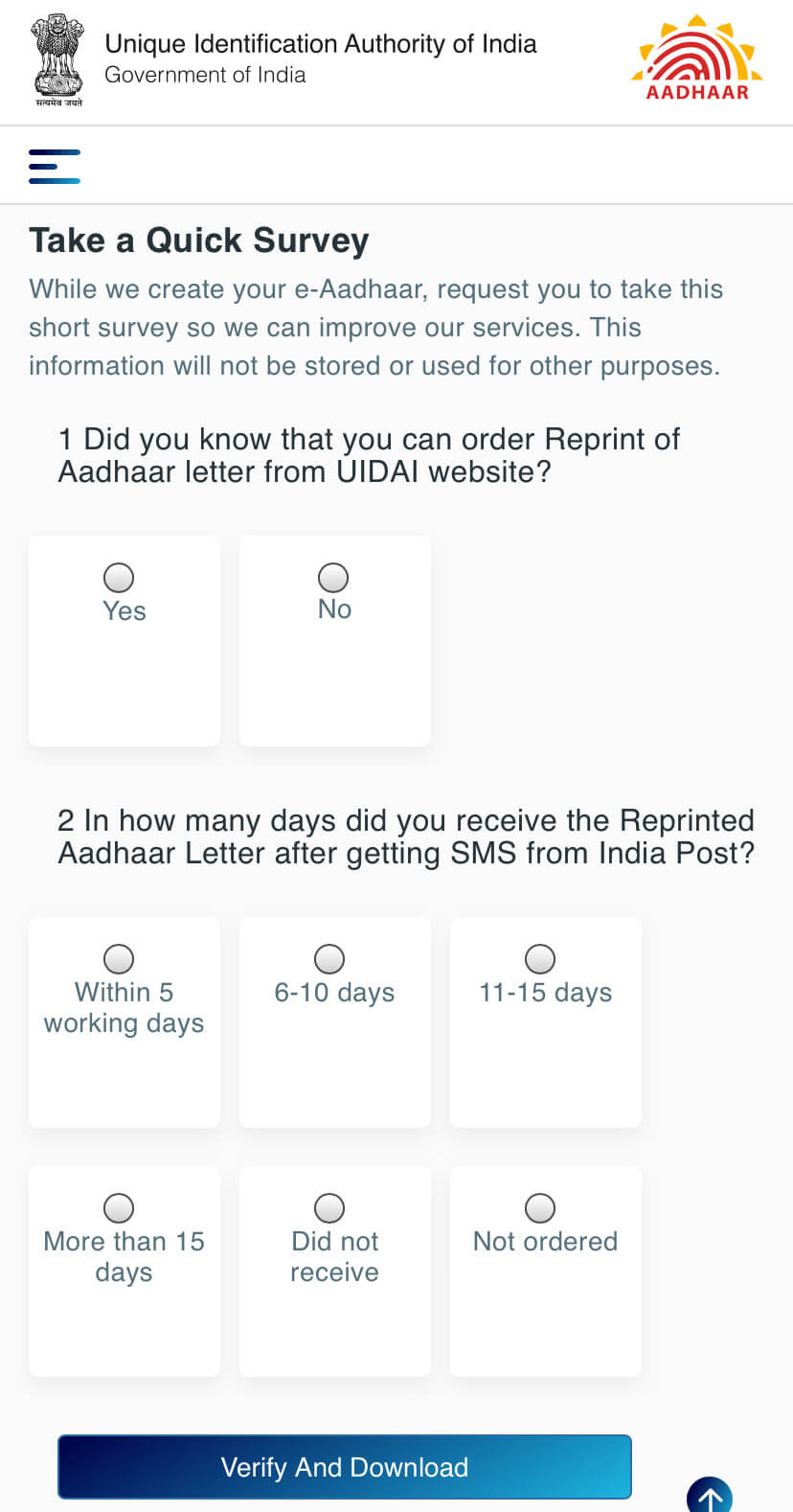 Complete survey and download e-aadhaar