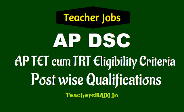 ap dsc 2018 post wise qualifications eligibility criteria,ap tet cum trt teachers recruitment 2018 post wise qualifications eligibility criteria