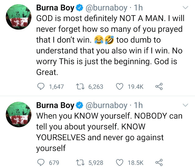 """""""I'll never forget how so many of you prayed that I don't win"""" Burna Boy tweets as he points out he won the grammys on his own"""