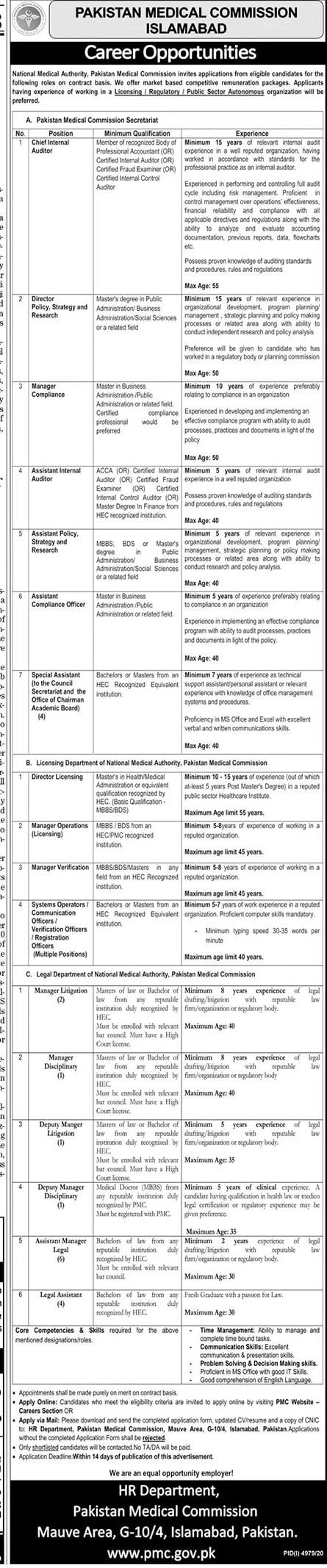 Pakistan-medical-commission-Islamabad-latest-Jobs-2021-advertisement