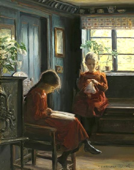 """Afternoon Pasttimes"" by Knud Erik Larsen (1865-1922)"