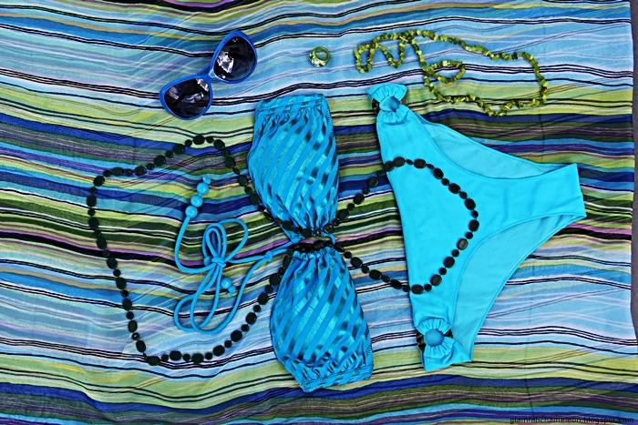 turquoise bikini outfit flatlay