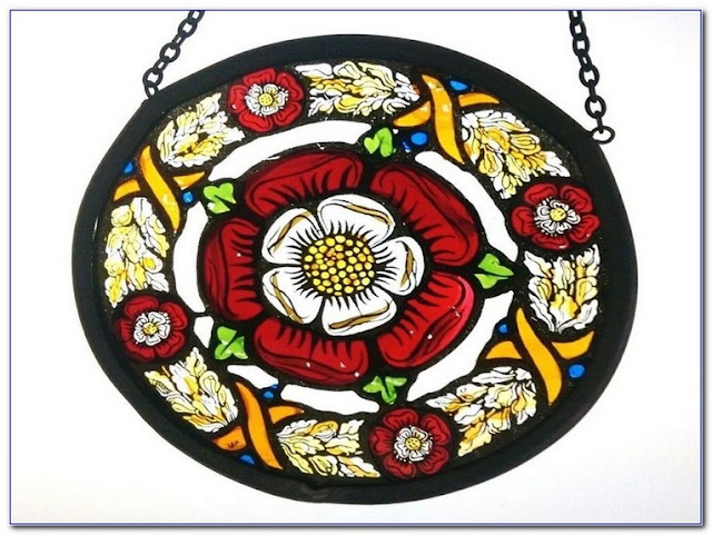 Tudor Rose Stained GLASS WINDOWS Panels for sale