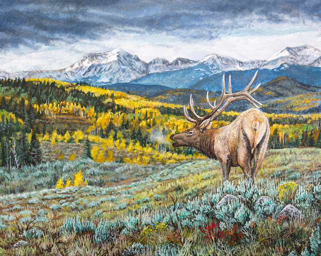 Acrylic Painting of a bull elk in the rocky mountains colorado montana idaho utah wyoming