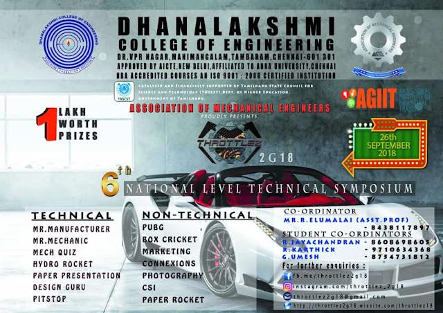 Throttlez 2G18: Mech Symposium at Dhanalakshmi College of Engineering