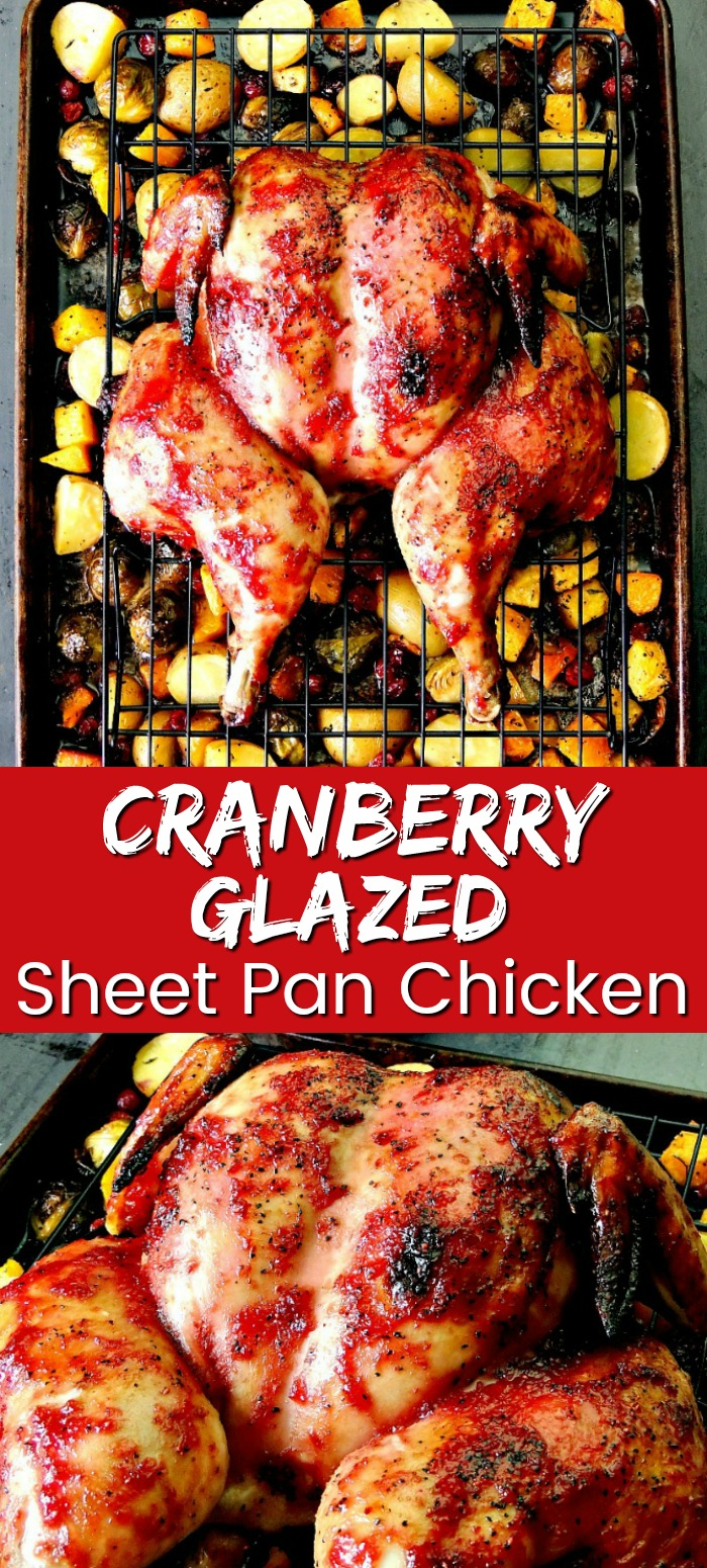 This Cranberry Glazed Sheet Pan Chicken and Vegetables recipe is the perfect fall-flavored meal. It is easy to make, delicious, and uses just one pan. #holidayrecipes #holidayrecipe #chicken #vegetables #cranberry #brusselsprouts #sheetpan #sheetpandinner #easy #recipe | bobbiskozykitchen.com
