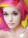 Leda Monster Bunny: PINK & YELLOW HAIR
