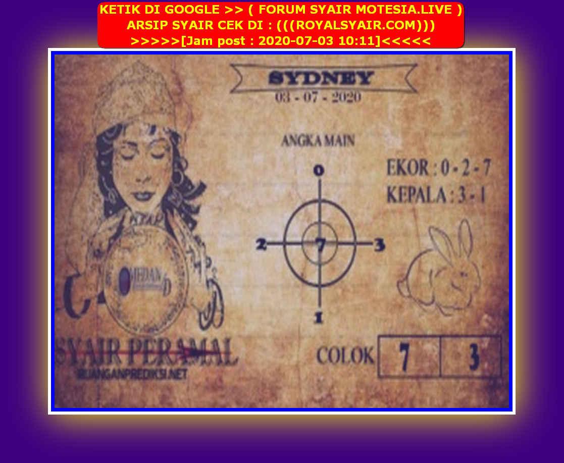 Kode syair Sydney Jumat 3 Juli 2020 164