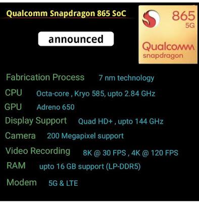اهم مواصفات معالج snapdragon865