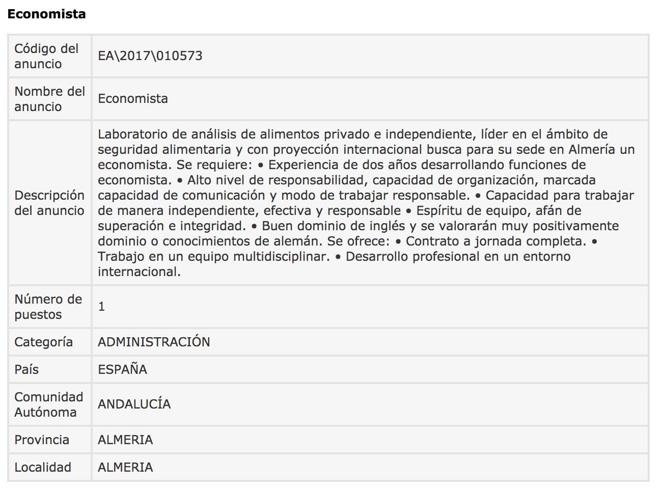 Ofertas de Empleo en España: Economista - Almería - photo#23