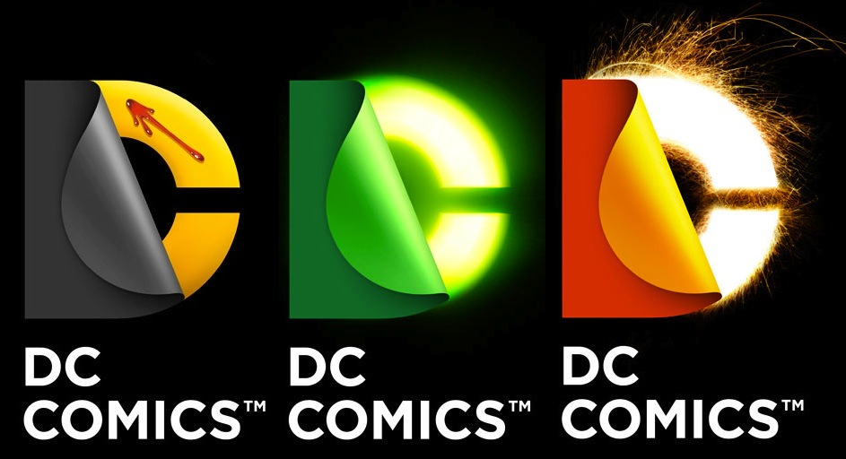 variations on DC Peel for 'Watchmen', Green Lantern, and Flash on black background
