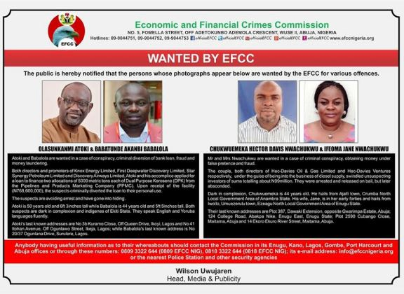 EFCC declares couple, and 3 others wanted over fraud related issues