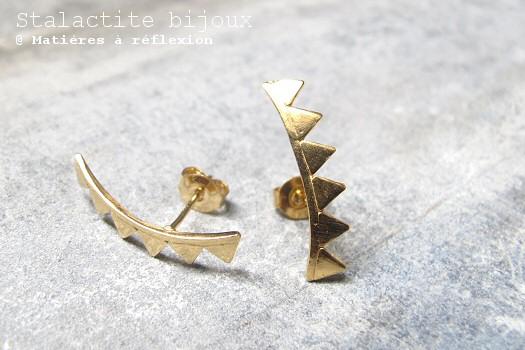 Stalactite boucles d'oreilles triangle vermeil