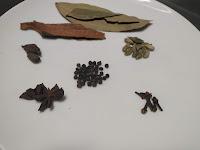 Whole spices Cardamom cinnamon Bay leaves cloves black pepper con for veg biryani recipe
