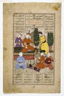 Šāhnāmeh knygos miniatiūra. Muzikantas linksmina valdovą Bahrām Gur ir jo kolegas
