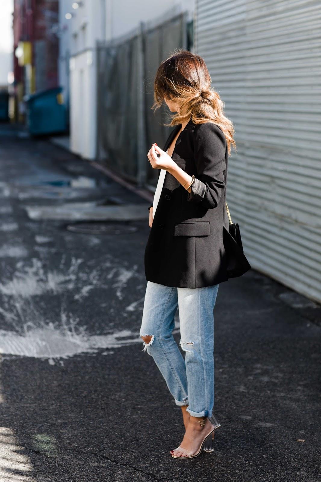 how to wear boyfriend jeans, oversized zara blazer, casual date night look