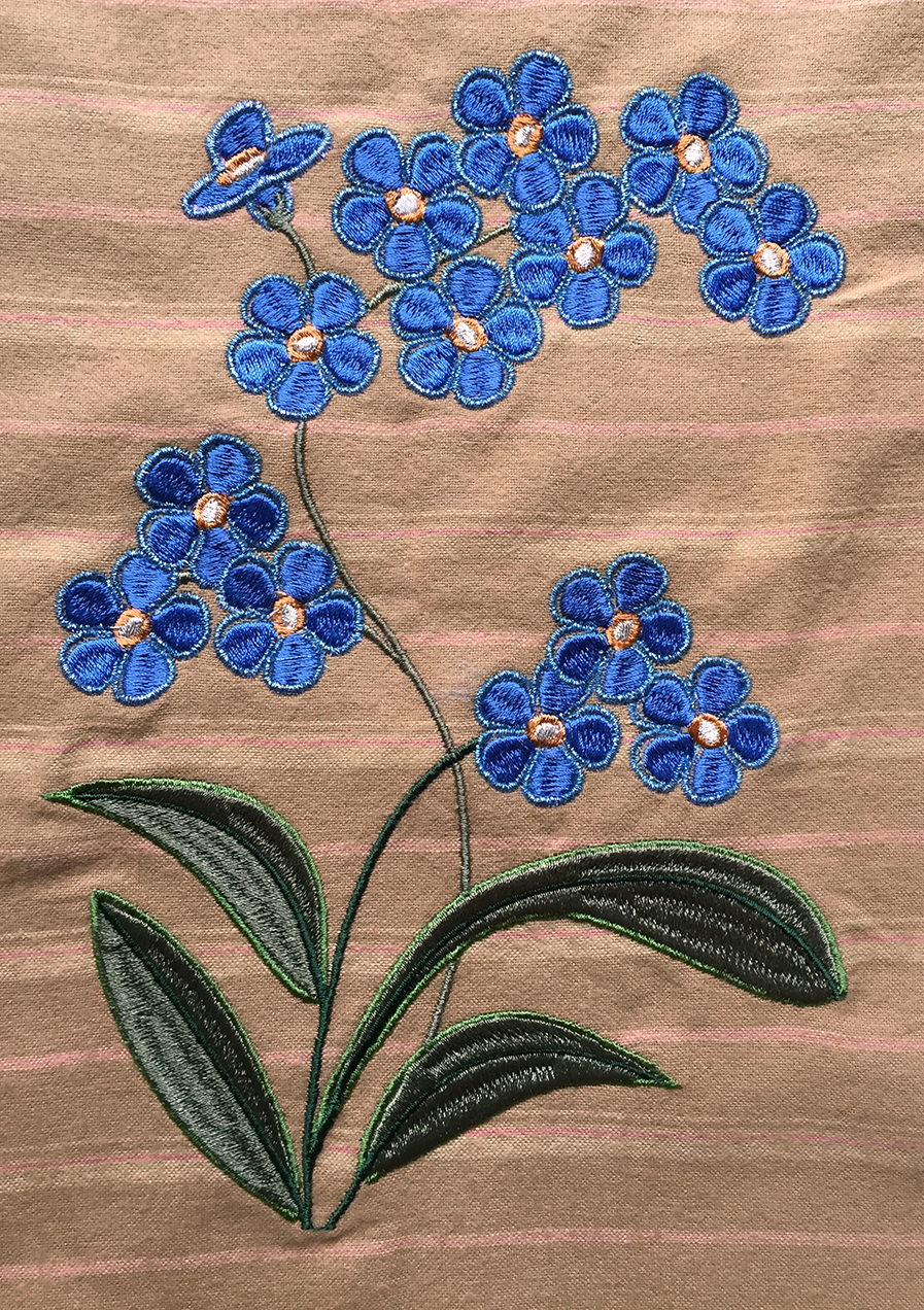 Forget Me Not Design With Metallic Thread Edging On The Flowers