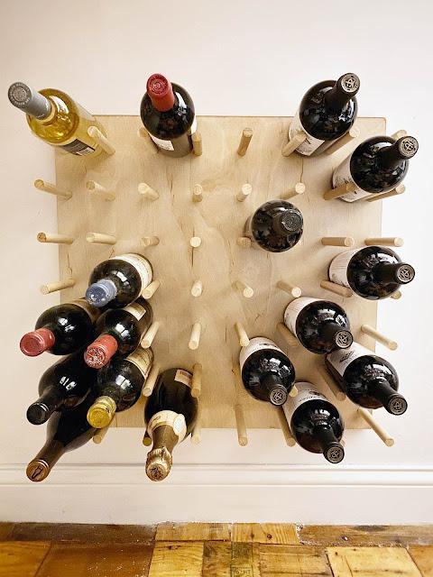 wall mount wine rack pegboard wood dowel