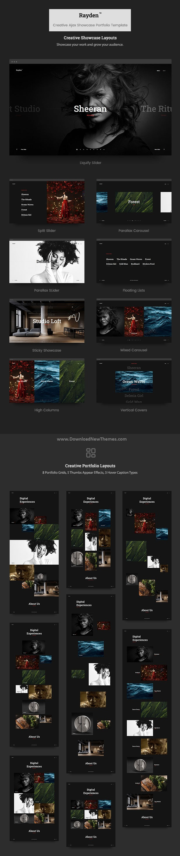 Creative Ajax Portfolio Showcase Slider Template