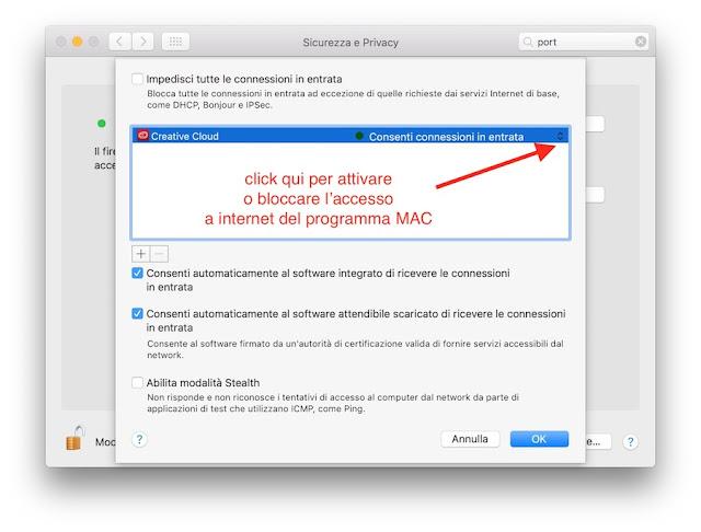 blocco accesso rete internet su mac