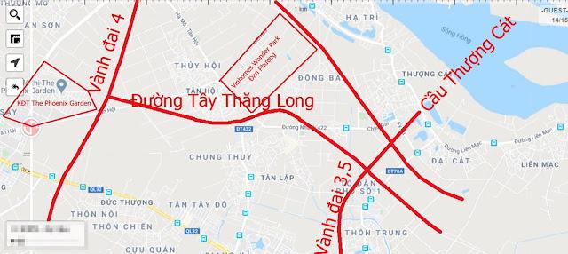 Vị trí các khu dân cư, khu đô thị kết nối với đường Tây Thăng Long.