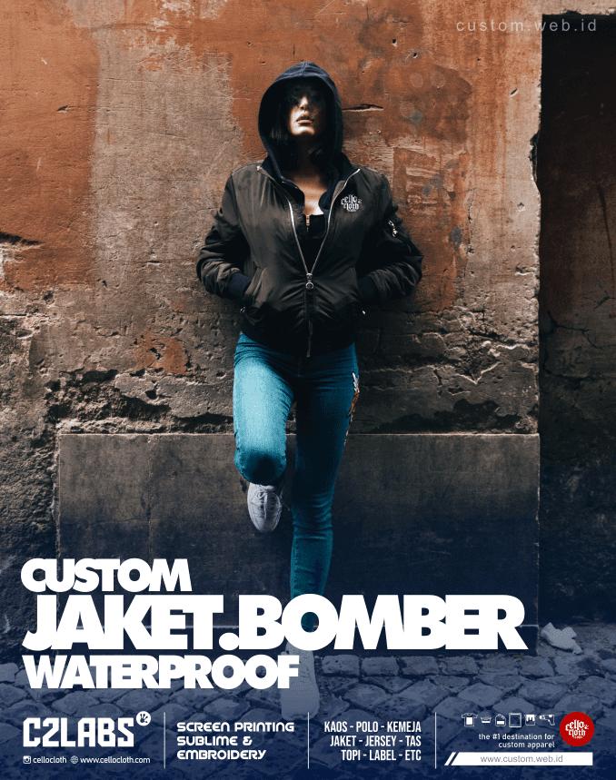 Custom Jaket Bomber Waterproof Print - Konveksi Jaket Jogja 3