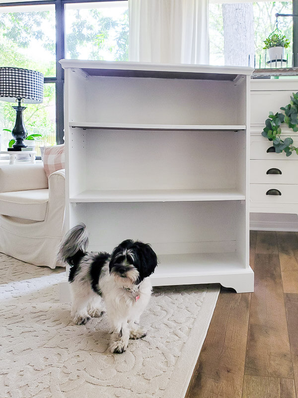 bookcase painted white