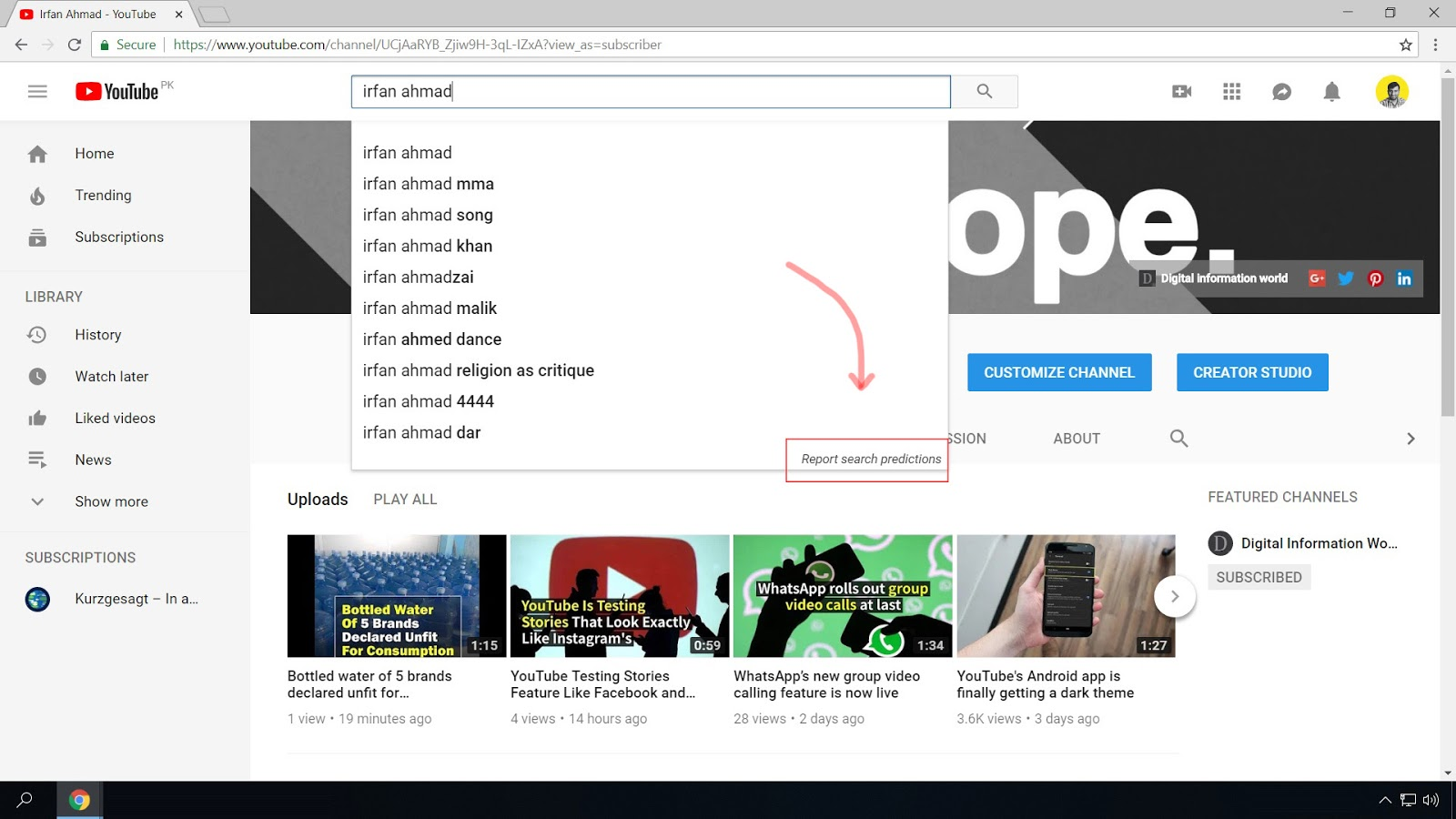 """When you search a keyword on youtube.com, its search algorithm tries to predict your search query. If you think a prediction violates one of the Autocomplete policies, you can report it by clicking """"Report search predictions"""" feature."""