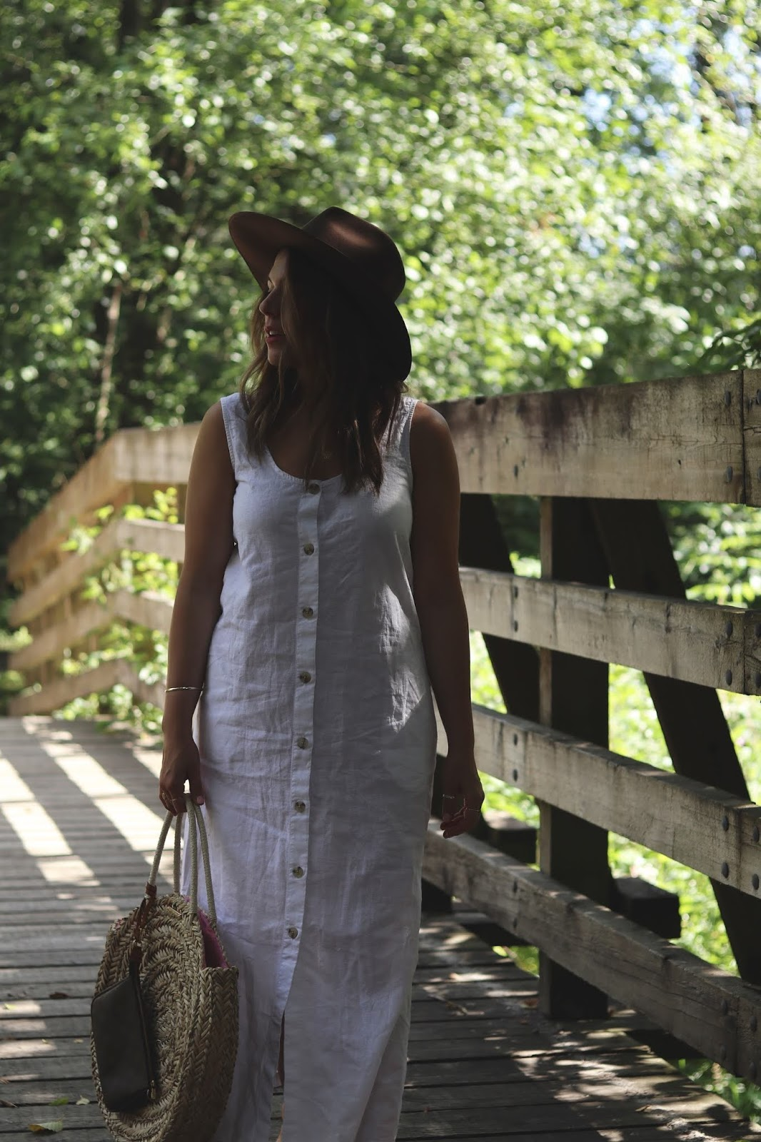 joe fresh linen button maxi dress outfit straw bag lack of color rancher hat vancouver fashion blogger
