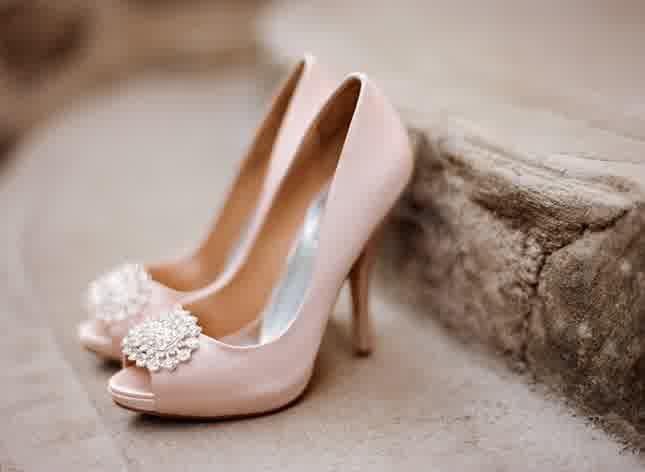 Badgley Mischka Blush Wedding Shoes