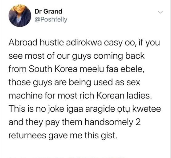 'Nigerian Men Used As Sex Machine By Rich South Korean Ladies' - Man Says