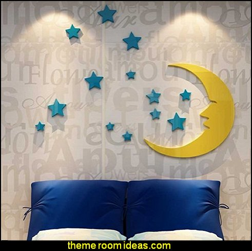 Plastic 3d Stars and the Moon Wall Decal