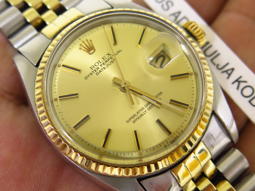 ROLEX OYSTER PERPETUAL DATE JUST GOLD DIAL TWO TONE - ROLEX 1601 UNPOLISHED - FULLSET BOX PAPERS