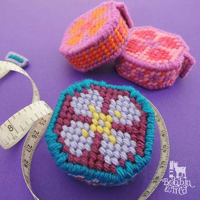 Plastic Canvas Needlepoint Tape Measures by Bobbin and Fred