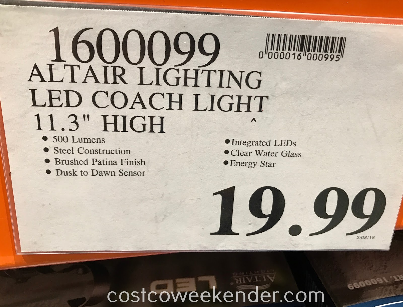 altair outdoor led coach light costco