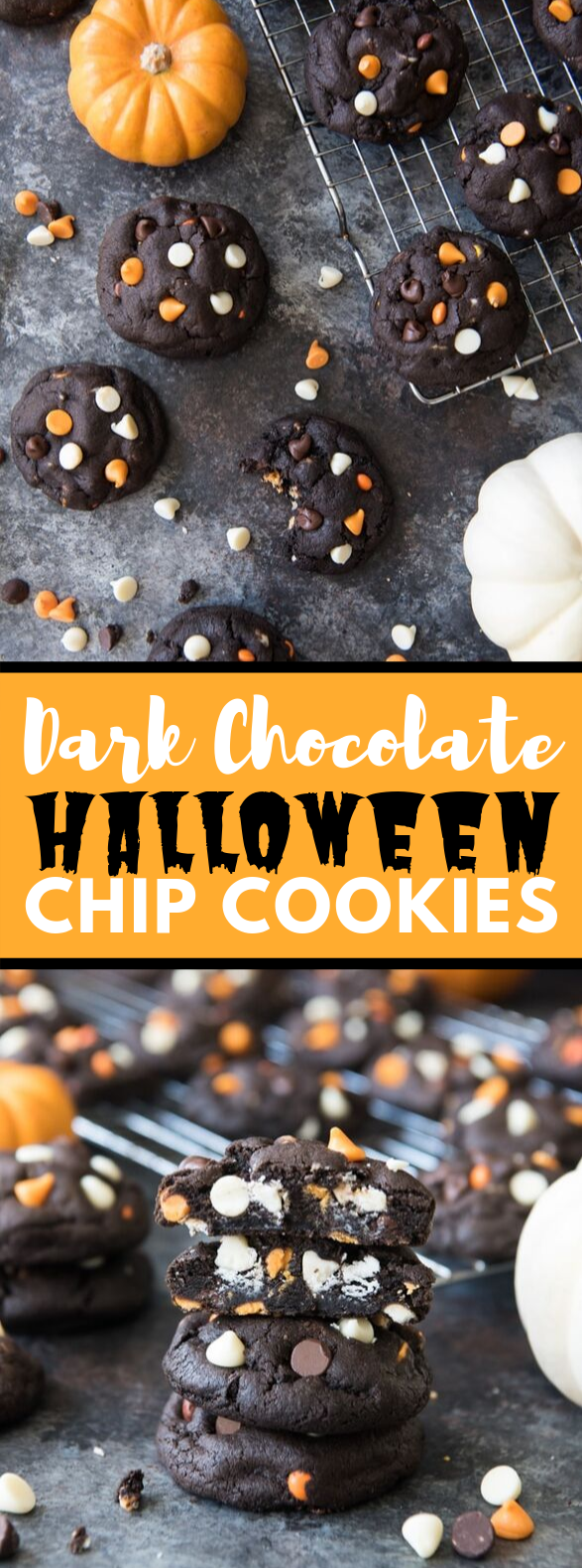 DARK CHOCOLATE HALLOWEEN CHIP COOKIES #desserts #delicioustreat