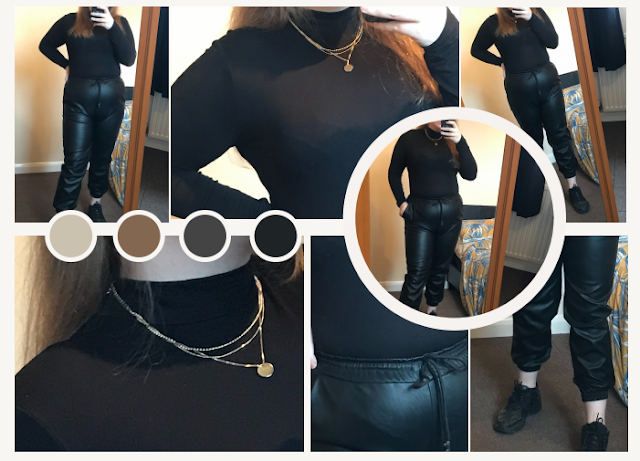 womens everyday casual outfit styling black faux leather trousers