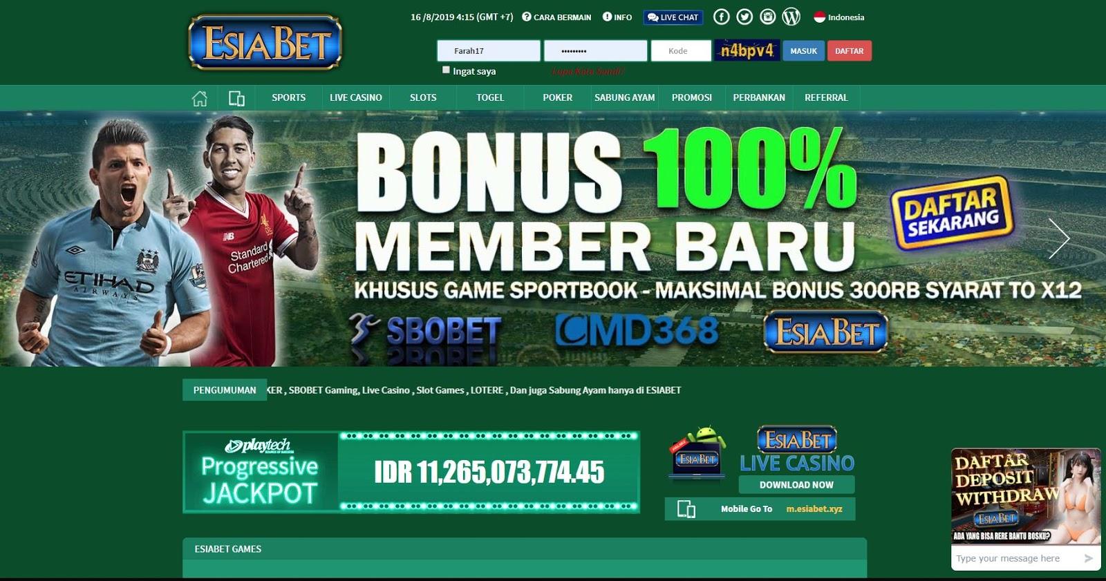 Bonus Deposit Bola Online 100 Bersama Agen Judi Esiabet