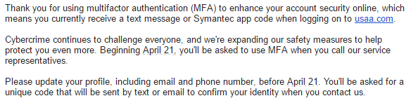 USAA is extending multifactor authentication to customer service calls.