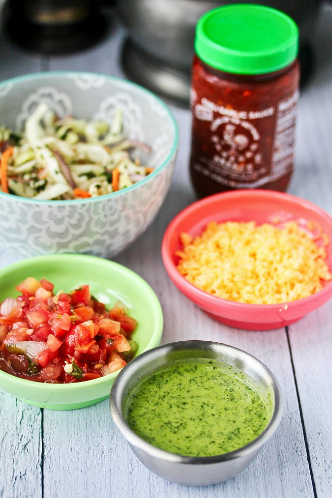 Ingredients for Wahoo's Grilled Fish Tacos with Citrus Slaw in bowls