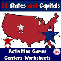 50 States and Capitals includes a pack of activities to learn the states and capitals