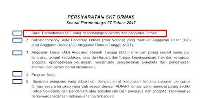 Contoh Permohonan Surat Keterangan Terdaftar (SKT) Untuk ORMAS