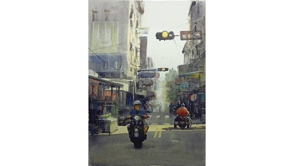 彰化街景之美躍上國際 謝政憲《午後的民權市場(彰化市)》