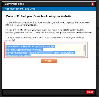 Bravenet Guestbook을 이용하여 Blogger 방명록 추가 방법 14. 출력된 소스코드 복사