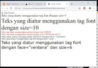 memformat teks dengan menggunakan tag font pada html